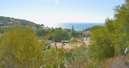 picturesque view : Mediterranean village view in mountains near sea. Italy, Sardinia Stock Footage