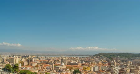 local : Cityscape of Cagliari, Italy, top view, timelapse