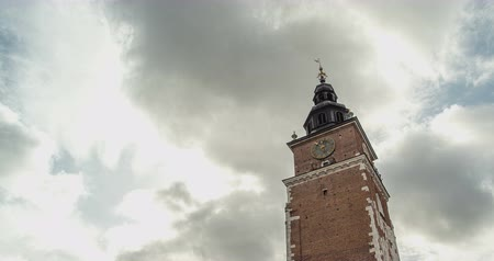 wawel : Old Town Hall Tower with clock. Background clouds. Timelapse Stock Footage
