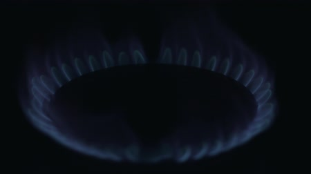 gas hob : The gas stove is lit Stock Footage