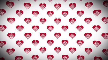sarıcı : Artistic QR Code loop animation background. Elements of the background are in the shape of heart with I Love You! text encoded Stok Video