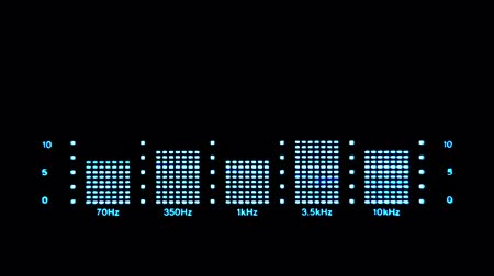 hz : The sound analyzer with five divisions of frequency. Sound analysis on a black background with blue markings.
