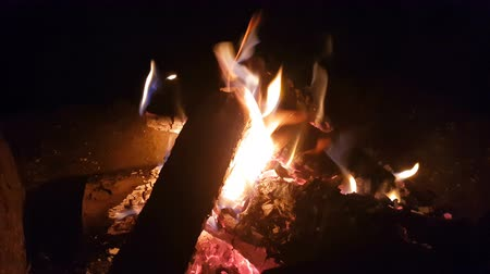 Charred wood in the fire. Burning wood in bright flames in the dark. Copy space Vídeos