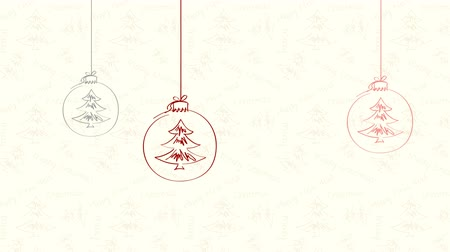 sarıcı : Christmas and New Year. Motion greeting card. Christmas background with Christmas decorations. Hand drawn. Stok Video