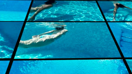 mergulhador : Young woman swims and dives in the beautiful swimming pool Diving in the private swimming pool Video clip Vídeos