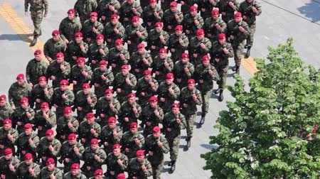 asker : 07.05.2016. Zrenjanin,Serbia,Manifestation Army Day: Military marching of soldiers through the town, Soldiers marching in a parade through the town, Video Clip Stok Video