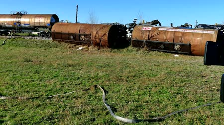 Becej, Serbia, 24th December 2017: Train tank, with hazardous material, slipped off the rails, 4 K Video Clip