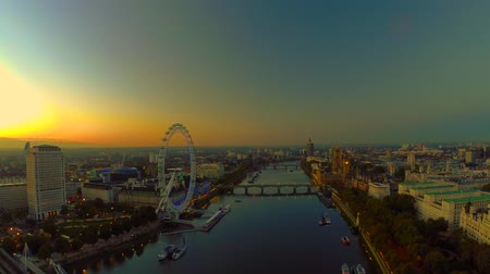 copter : Aerial panorama of central London, UK. Features the River Thames, Millennium Wheel (London Eye), Waterloo and Houses of Parliament.