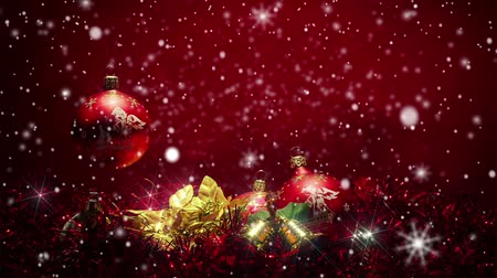 ünnepies : snowy red christmas background with red ball, glow stars and snowflakes