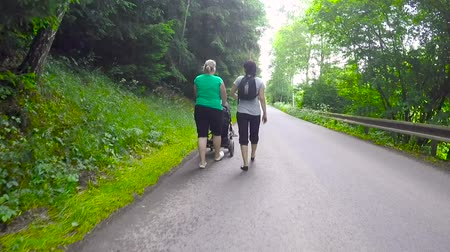 leisureactivity : Two woman pushing a baby stroller in rural road rear view