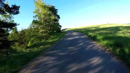 previously : Car driving in evening rural countryside on a sunny day. Landscape with trees and blue sky with sunlight, travel concepts. 60 FPS POV view