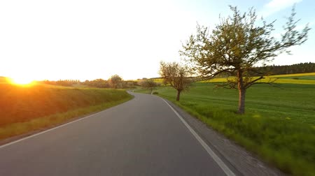 previously : Car drive in a sunny day between countryside and meadow. Landscape with trees and blue sky with sunlight. Hyperlapse Stock Footage