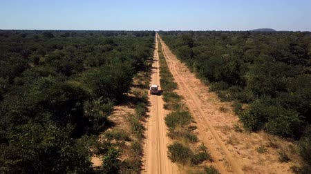 car driving on the main dirty sandy road from Kasane to Okavango, Moremi Game reserve. Aerial View, Botswana Chobe Стоковые видеозаписи