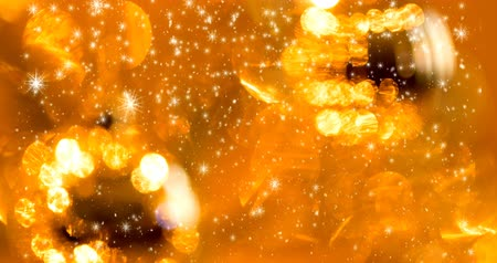 yellow christmas particles seamless loop background with snowflakes
