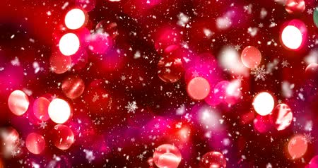 Abstract snow background. Blurred colorful circles bokeh of christmas lights with snowflakes Стоковые видеозаписи