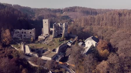 relics : View from the birds eye view of the ruins of Rokstejn Castle. Czech Republic. Stock Footage