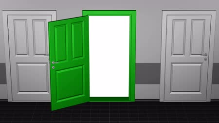 Войти : Door opening and camera go to inside. Luma matte. 3D rendering.