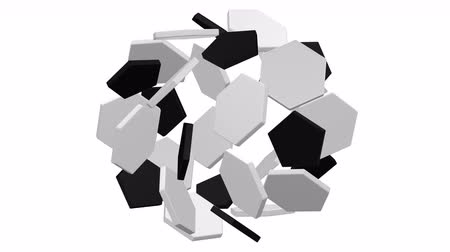Flat white hexagonal and black pentagonal plates as a soccer ball shape grow and turn around. Loopable. Luma matte. 3D rendering.