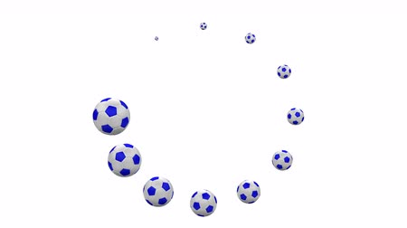 Loading round sign - soccer ball signs. Kit 4 in 1. Loopable. Luma matte. 3D rendering. Vídeos