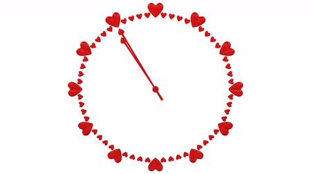 Concepts: Love time - Animation of timelapse of clock face with heart shape signs. Loopable. Luma matte. 3D rendering.