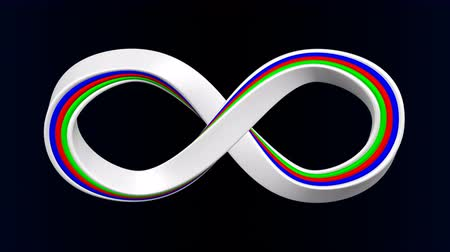 tapeçaria : Colored infinity sign on black and dark blue background. Luma matte. Loopable. 3D rendering.