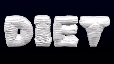 záhyby : White word Diet inflate with folds and deflate on black and dark blue background. Luma matte. 3D rendering.