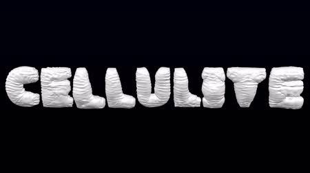 White word Cellulite inflate with folds and deflate on black and dark blue background. Loopable. Luma matte. 3D rendering.