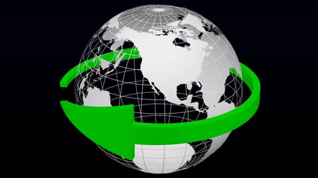 Green arrow rotate around transparent model of Planet Earth. 3D rendering. Vídeos