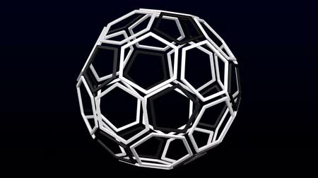 White hexagonal and black pentagonal frames as soccer ball turn around. Loopable. Luma matte. 3D rendering.
