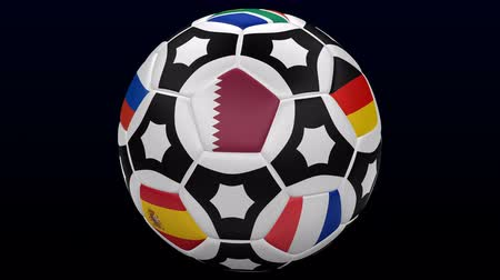 Soccer ball with flags. Loopable. Luma matte. 3D rendering.