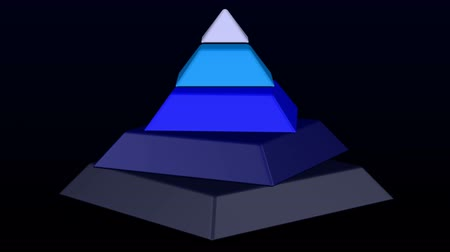 Hierarchy of needs as pyramid. Pyramid turn around on black and dark blue background. Luma matte. Loopable. 3D rendering. Vídeos