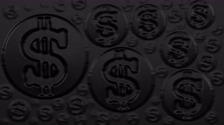 Abstract background - Dollar signs on black. Luma matte. Loopable. 3D rendering.