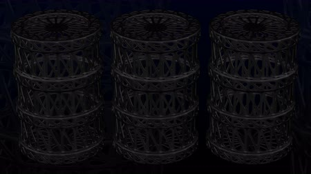 Background - cellular structure as oil barrel turn around on black and dark blue background. Luma matte. 3D rendering.