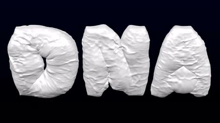 Concept: genetic predisposition to obesity. White word - DNA inflate with folds and deflate. Loopable. Luma matte. 3D rendering. Vídeos