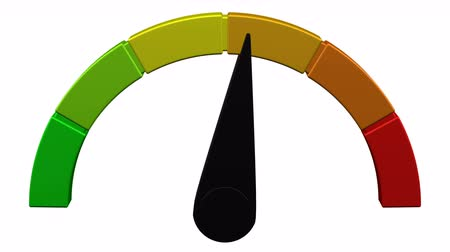 Escalation meter with black arrow. Loopable. Luma matte. 3D rendering.