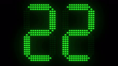 Green sports shot clock countdown from 30. 3D rendering.