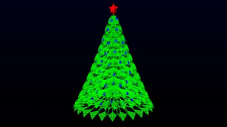 Green paper christmas tree turn around. Loopable Luma matte. 3D rendering.