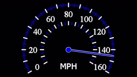 mph : Speedometer going to max speed and then slow down to zero. Loopable Luma matte. 3D rendering. Stock Footage