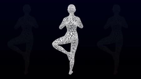 Yoga. 3d woman in a yoga pose turn around. Loopable Luma matte. 3D rendering.