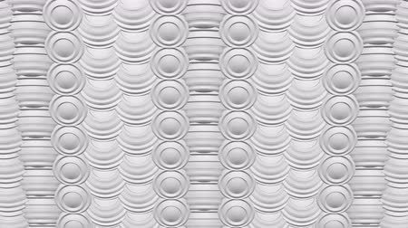 Abstract background white spheres with furrows turn around. Loopable Full frame. 3D rendering.