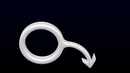 Concept - erectile dysfunction: white gender sign spear and shield of Mars bend on black and dark blue background. Loopable Luma matte. 3D rendering.