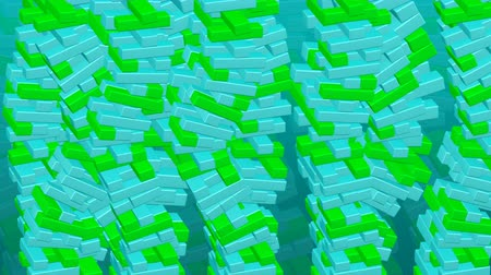 Background - fluctuation. Towers of green and turquoise blocks bend. Loopable 3D rendering. Vídeos