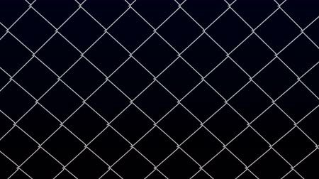 Metallic fence net moving on black background. Luma matte. Loopable 3D rendering.