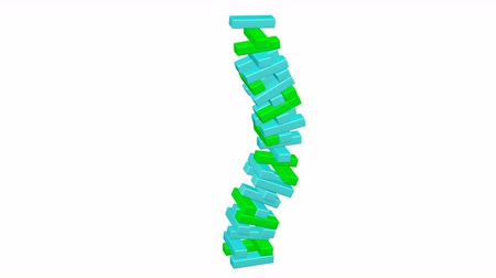 inverted : Concept: fluctuation. Tower of green and turquoise blocks bend on white background. Loopable Kit 2 in 1 + Luma matte. 3D rendering.