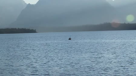 grand tetons : Kayaker in jackson lake Yellowstone