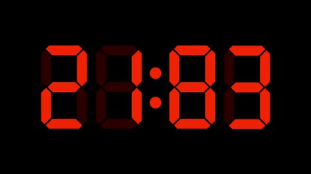 contagem regressiva : Digital clock count from zero to sixty full HD LED display orange numbers