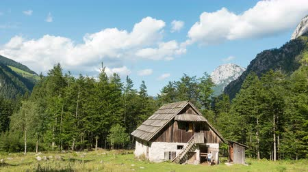 fülke : Time lapse of old alpine hut - homestead with meadow and woods in the Alps, Robanov kot, Slovenia