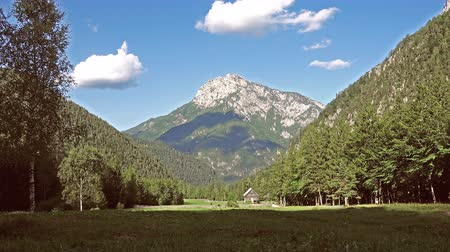 slovenya : Mountain cabin in European Alps, Robanov kot, Slovenia
