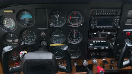 tachometer : Maribor, Slovenia - April 10 2019: Closeup of the dashboard in small sport aircraft, light sport airplane cockpit with instrument panel, Cessna 172
