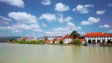 kostel : Maribor, Slovenia - June 16, 2019: Lent district in Maribor, Slovenia, a popular waterfront promenade with historical buildings